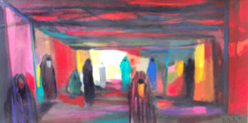 Dans Le Souk 1987 47x23 Original Painting - Marcel Mouly