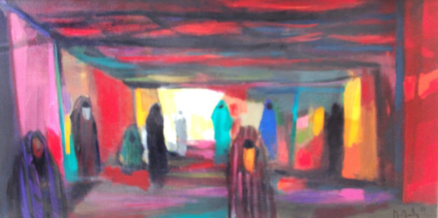 Dans Le Souk 1987 47x23 Original Painting by Marcel Mouly