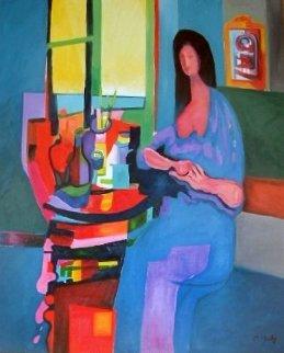 Juane En Bleu 1994 43x52 Super Huge Original Painting - Marcel Mouly