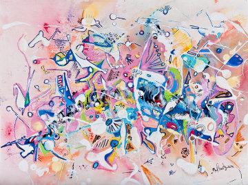 Giddy Galactic 1993 23x30 Original Painting - Max Shertz