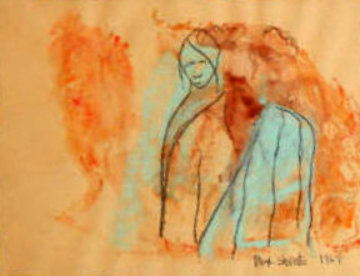 Man Woman Watercolor 1969 20x17 Watercolor by Max Shertz