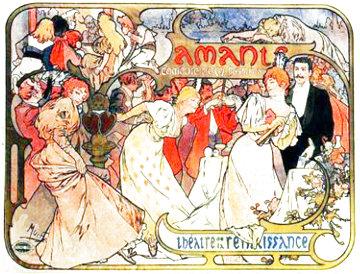 Amants - Theatre De La Renaissance 1895 Limited Edition Print - Alphonse Mucha