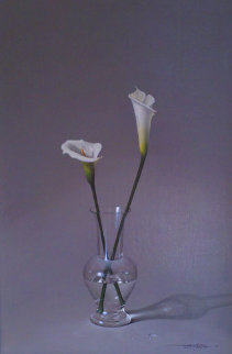 Two Lillies in Vase 48x36 Original Painting - Javier Mulio