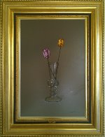 2 Tulips in a Glass 2000 42x30 Super Huge Original Painting by Javier Mulio - 1