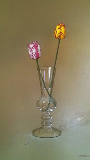 2 Tulips in a Glass 2000 42x30 Original Painting - Javier Mulio