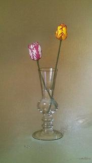 2 Tulips in a Glass 2000 42x30 Super Huge Original Painting - Javier Mulio