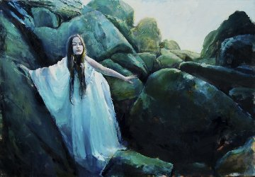 Mermaid Has Climber To Shore, She Waits For the Prince Who Will Bring Immortality. Original Painting by Kristian Mumford