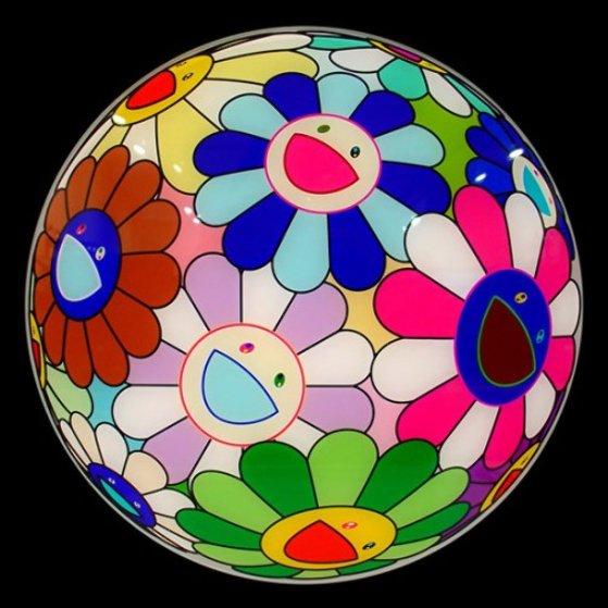 Flower Ball Charger Fiberglass Plate Sculpture by Takashi Murakami