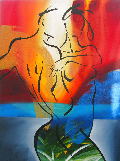 Lovers in Paradise 2004 40x30 Super Huge Original Painting - Elaine Murphy