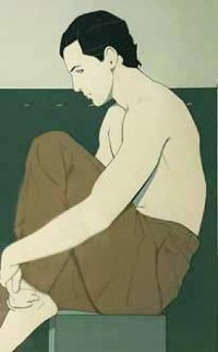 Seated Man AP 1981 Limited Edition Print - Patrick Nagel