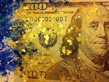 Benjamin Franklin in Gold 2016 28x26 Original Painting - Linda Naili