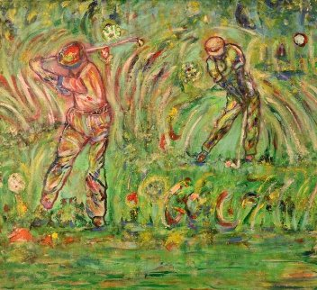 Golfers in Action 2020 31x31 Original Painting - Linda Naili