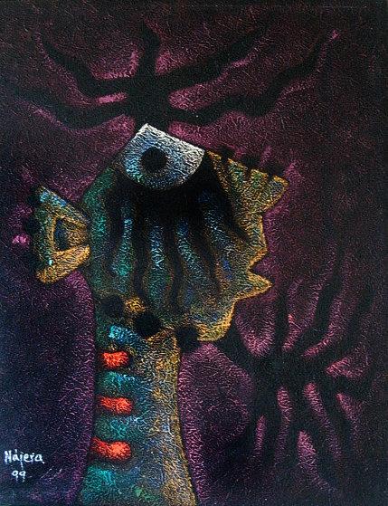 Brujos Sorprendidos 1999 46x31 Original Painting by Hector Najera