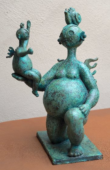 Gordita Con Nina Bronze Sculpture 1995 19 in Sculpture by Hector Najera