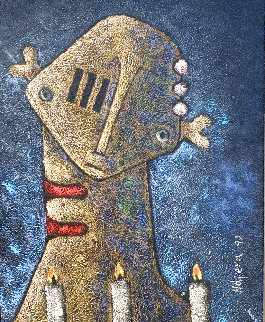 Untitled Painting 1992 36x26 Original Painting by Hector Najera