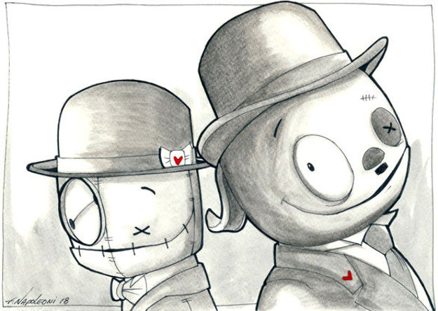 Laurel & Hardy 2019 19x15 Works on Paper (not prints) by Fabio Napoleoni