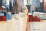 In the City 23x30 Original Painting - Adriana Naveh