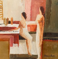 At the Jazz Bar 30x30 Original Painting by Adriana Naveh - 0