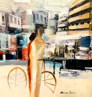 City Ride 32x32 Original Painting - Adriana Naveh