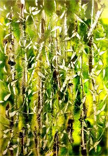 Bamboo Grove Watercolor 2002 30x22 Watercolor - Milind Nayak