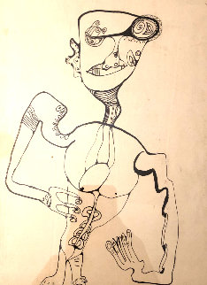 Untitled Figurative Drawing 1990 14x10 Early Work Drawing by Alexandra Nechita