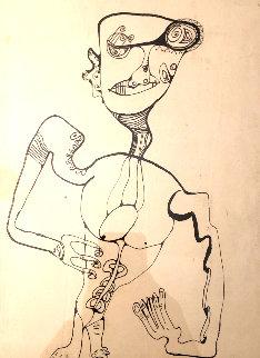 Untitled Figurative Drawing 1990 14x10 Early Work Drawing - Alexandra Nechita