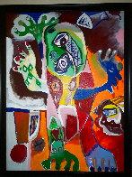 Grumpy Man Original 1994 52x39 Huge - Early Original Painting by Alexandra Nechita - 1