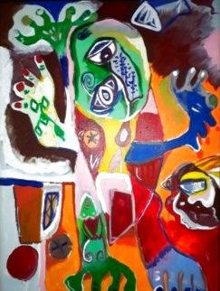 Grumpy Man Original 1994 52x39 Huge - Early Original Painting - Alexandra Nechita