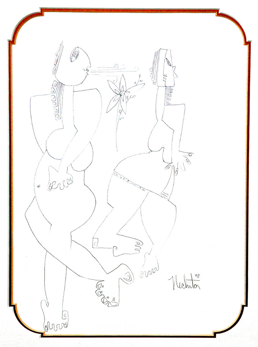 Flower Breath Drawing 1997 11x8 Drawing by Alexandra Nechita