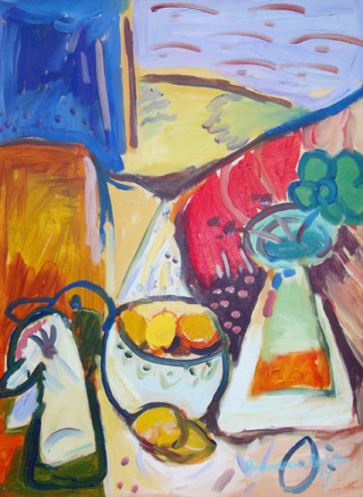 Still Life with Lemons 1994 (very early work) 34x17 Original Painting by Alexandra Nechita