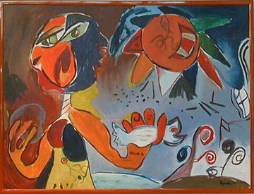 Sun with Dove 1995 (early work) 36x48 Huge Original Painting - Alexandra Nechita