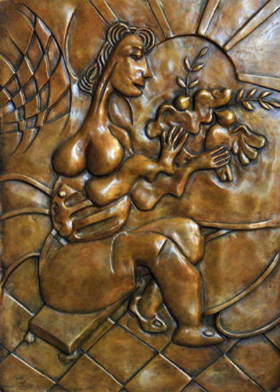 Let There Be Peace Bas Relief Bronze Sculpture 2008 Sculpture by Alexandra Nechita