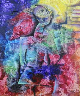 Turning on the Love Clock 2005 40x34 Super Huge Original Painting - Alexandra Nechita