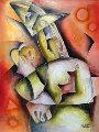 Store Away Your Anger 1997 45x33 (early) Original Painting - Alexandra Nechita