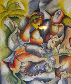 Swimming With Dolphins 1998 Limited Edition Print by Alexandra Nechita