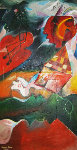 Volcanic Symphony 1995 73x39 (early) Original Painting - Alexandra Nechita