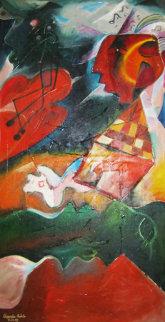Volcanic Symphony 1995 73x39 (early) Super Huge Original Painting - Alexandra Nechita
