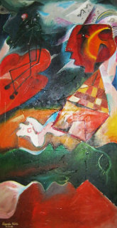 Volcanic Symphony 1995 73x39 (early) Original Painting by Alexandra Nechita
