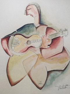 One Soul Study Watercolor 2005 25x29 Watercolor by Alexandra Nechita