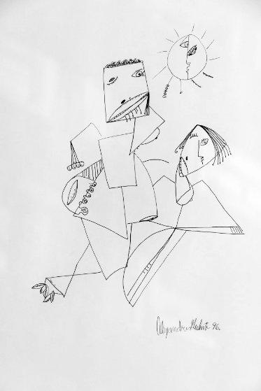Purple Tears 21x27 Drawing by Alexandra Nechita