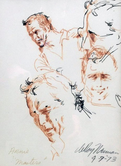 Arnie at the 1973 Masters Drawing 23x19 Arnold Palmer Drawing by LeRoy Neiman