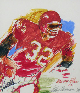 Marcus Allen, Football Watercolor 1994 22x19 Watercolor by LeRoy Neiman