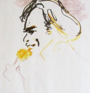 Neil Diamond 1984 21x15 Original Painting - LeRoy Neiman