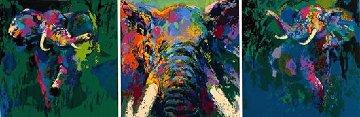 Elephant Triptych 2002 Limited Edition Print - LeRoy Neiman