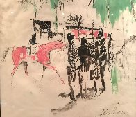 Hialeah Racetrack in Florida Mixed Media 1959 29x27 Works on Paper (not prints) by LeRoy Neiman - 2