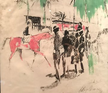 Hialeah Racetrack in Florida 1959 29x27 Works on Paper (not prints) - LeRoy Neiman