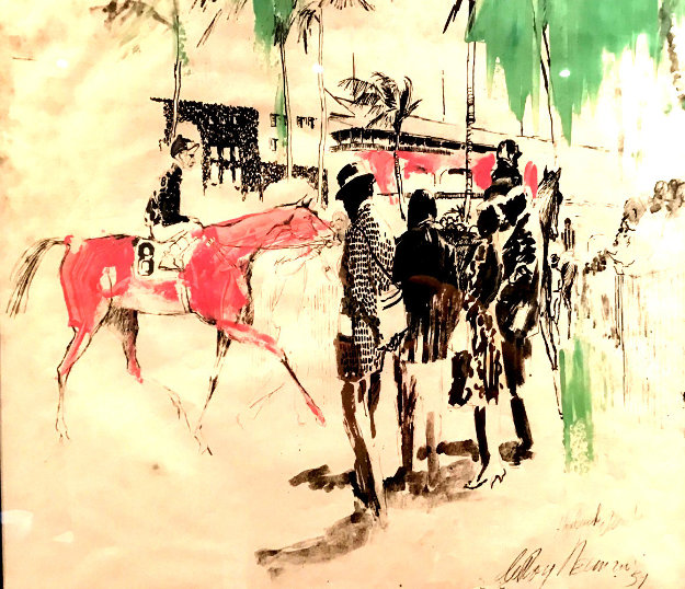 Hialeah Racetrack in Florida Mixed Media 1959 29x27 Works on Paper (not prints) by LeRoy Neiman