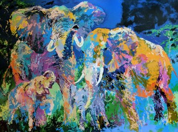 Elephant Family 1984 Limited Edition Print by LeRoy Neiman