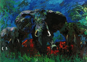 Elephant Stampede AP 1976 Limited Edition Print - LeRoy Neiman