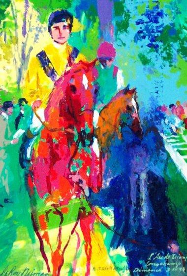 l'arc De Triomphe  Longchamp Paddock 1993 15x11 Original Painting by LeRoy Neiman